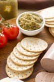 Green Olive Pate And Crackers Royalty Free Stock Image