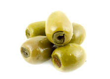 Green olives. On white background Royalty Free Stock Photos