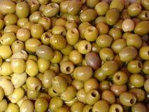 Green olives. Marinated green olives royalty free stock photo