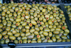 Green olives. Mediterranean green olives at the green market stock photo