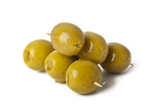 Green olives. On Branch  on white Background Royalty Free Stock Image