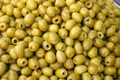 Green olives. Many green olives without the stones Royalty Free Stock Images