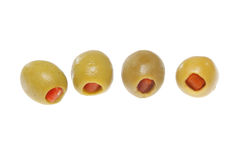 Green olives. Isolated on a white background stock photos
