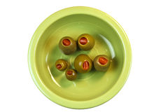 Green Olives in a bowl Royalty Free Stock Photos