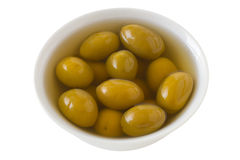 Green olives in the bowl Stock Image