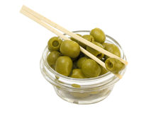 Green olives in a bowl Stock Photos