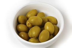 Green olives in a bowl Royalty Free Stock Image