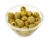 Green olives in bowl Royalty Free Stock Image