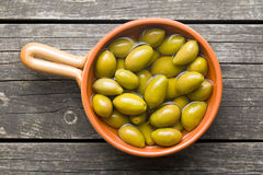 Green olives in bowl Royalty Free Stock Photo