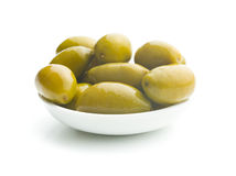 Green olives in bowl Stock Photography