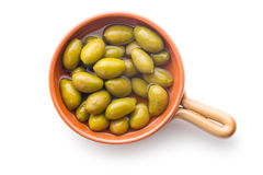 Green olives in bowl Stock Photos