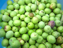 Green olives in bucket close up Stock Image