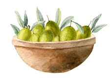 Green Olives in a ceramic Bowl