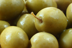 Green olives in closeup Royalty Free Stock Photography