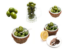 Green Olives Collage Stock Images