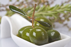 Green olives covered in oil Royalty Free Stock Image