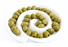Green olives dish Stock Photography