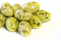 Green olives with dressing Royalty Free Stock Photos