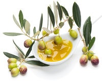 Green olives and extra virgin oliver oil Stock Photo