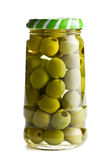 Green olives in glass jar Royalty Free Stock Images