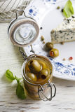Green olives in glass jar Stock Photography