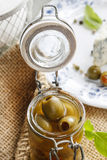 Green olives in glass jar Royalty Free Stock Photography
