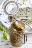 Green olives in glass jar Royalty Free Stock Image