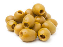 Green olives heap. Against white background Royalty Free Stock Images