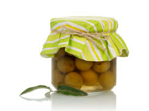 Green olives in jar Stock Images