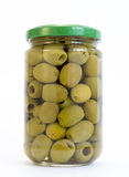 Green olives jar Royalty Free Stock Image