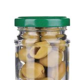 Green olives in a jar. Stock Photo