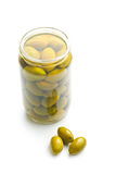 Green olives in jar Royalty Free Stock Photography