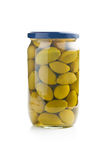 Green olives in jar Stock Image