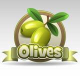 Green olives label Stock Images