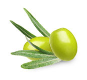 Green olives with leaves Stock Photos