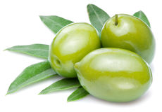 Green olives with leaves Royalty Free Stock Image