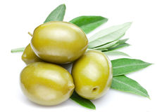 Green olives with leaves Stock Photography