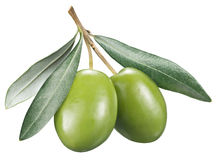 Green olives with leaves on a white background. Royalty Free Stock Photo