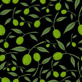 Green olives natural seamless dark pattern Royalty Free Stock Image