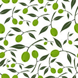 Green olives natural seamless white pattern Stock Photography