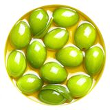 Green olives in oil Royalty Free Stock Photos