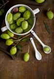 Green olives, olive branch and olive oil on a dark wooden board royalty free stock photos