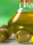 Green Olives with Olive Oil Royalty Free Stock Image