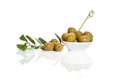 Green olives over white. Stock Photography