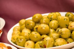 Green olives plate Royalty Free Stock Photos
