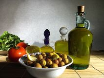Green olives plate Royalty Free Stock Photography