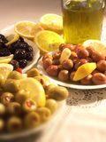 Green olives plate Stock Photography