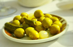 Green olives plate Stock Image