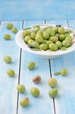 Green olives on a plate Royalty Free Stock Photos