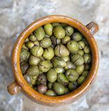 Green olives in a pot Royalty Free Stock Images